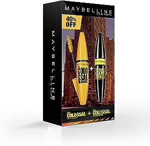 مايبيلين نيويورك كولوسال 100% الصفراء لرموش كثيفة 100% لون اسود وماسكارا كولوسال السوداء قو اكستريم لطبقة جلدية سوداء