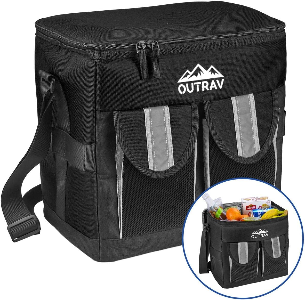 Outrav Black Padded Insulated Cooler 30 Can Capacity – Soft Collapsible Leak Proof Tote for Camping, Picnics and Travel Large Main Compartment, 2 Front Pouches, Handle and Shoulder Strap