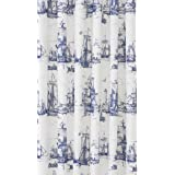 ikea nautical tall ships boat lighthouse navy white fabric shower curtain 71 x 71 aggersund
