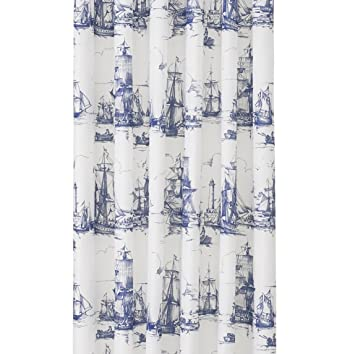 Ikea Nautical Tall Ships Boat Lighthouse Navy White Fabric Shower Curtain 71 X Aggersund