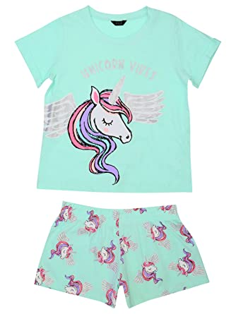 d2fa75f743 M Co Teens Unicorn Print Short and T-Shirt Cotton Pyjamas Mint 146 ...