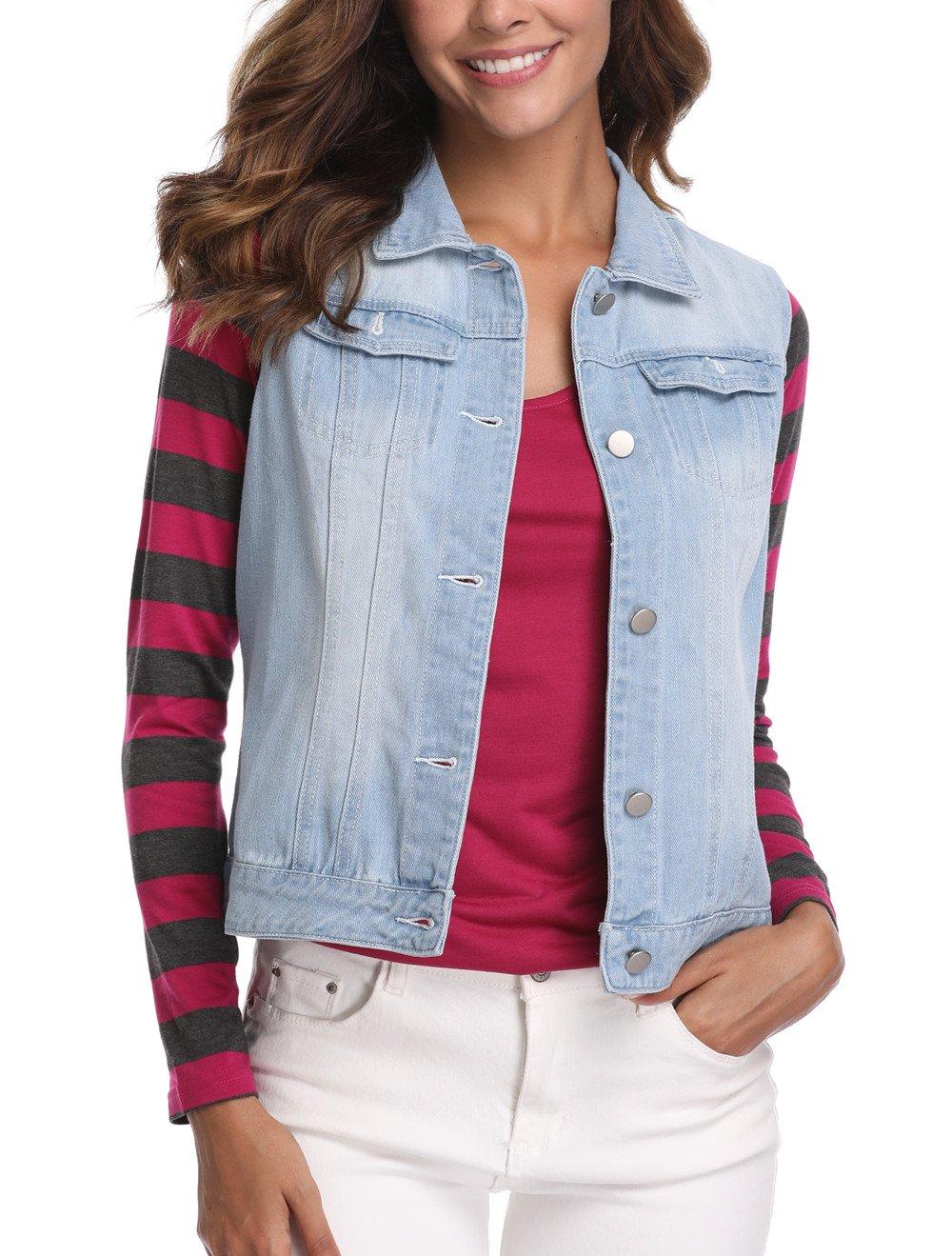 MISS MOLY Women's Sleeveless Light Blue Denim Jeaket Vest Button Up Dowm Denim Vests Coats w 2 Flap Pockets M