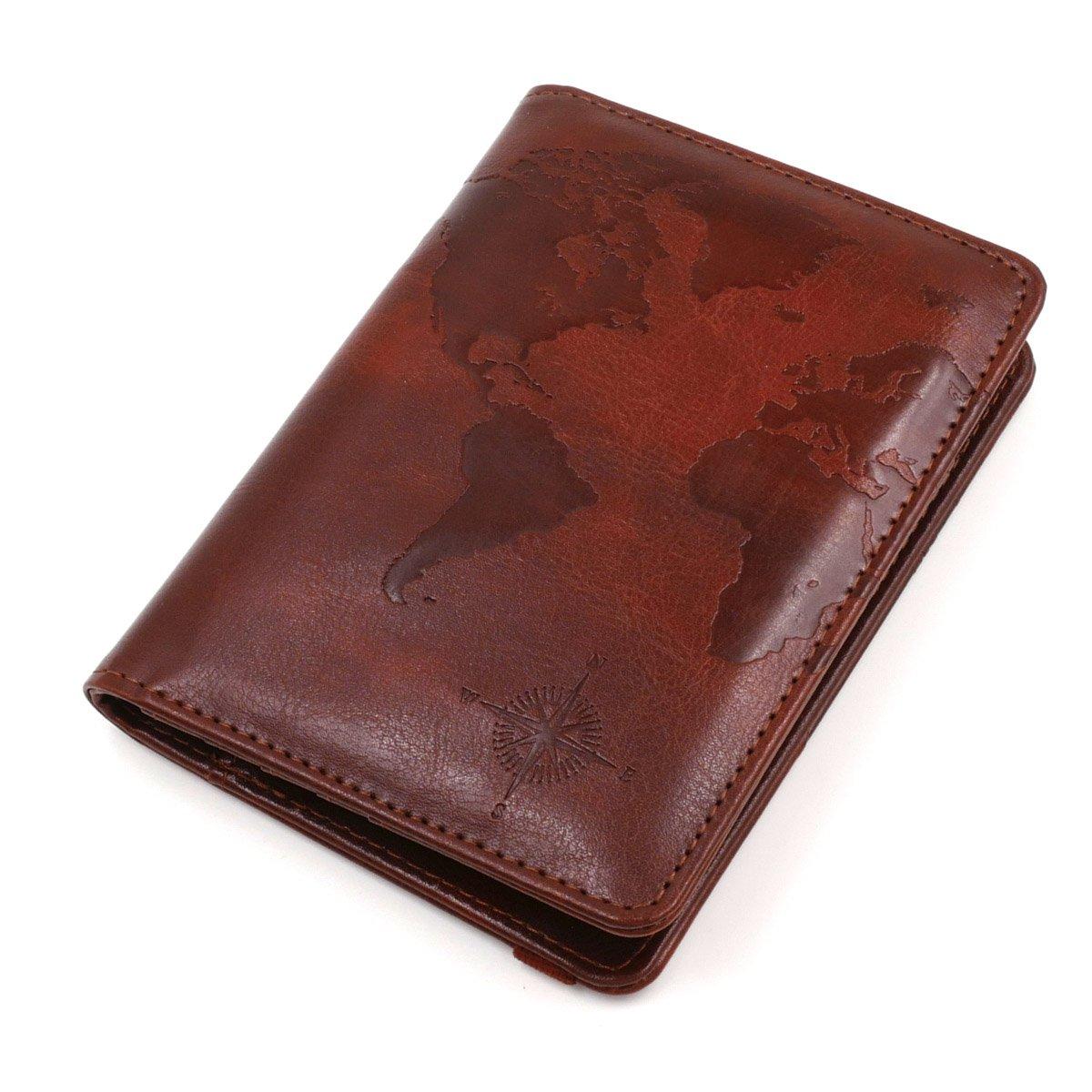 Kandouren RFID Blocking Passport Holder Cover Case,travel luggage passport wallet made with Brown Map Crazy Horse PU Leather for Men & Women by kandouren (Image #5)