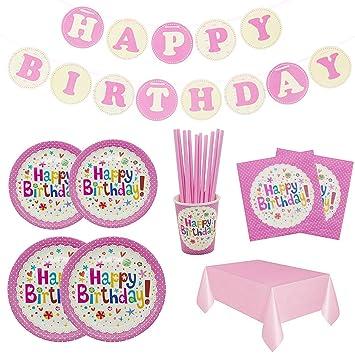 Set de Vajilla Desechables para cumpleaños,106 Piezas-Vajilla Diseño de Happy Birthday para 20 Personas,Decoraciones para cumpleaños,Incluye ...