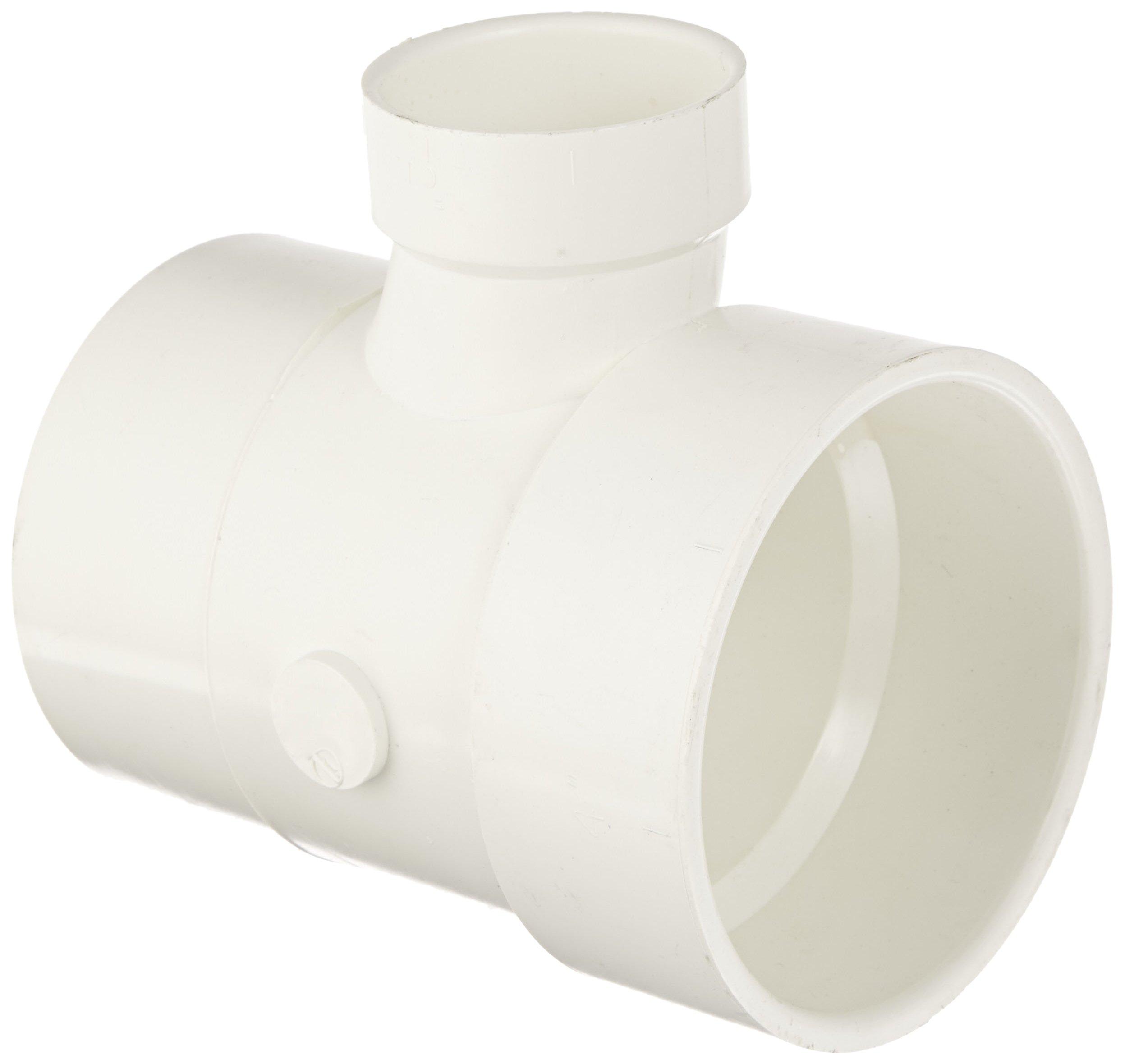 Spears P404 Series PVC DWV Pipe Fitting, Reducing Sanitary Tee, 4'' Spigot x 4'' Hub x 2'' Hub