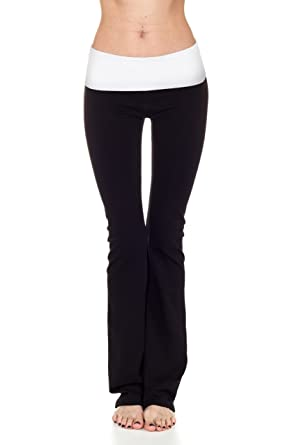 4b770663c4d73 Amazon.com: CordiU T-Party Contrast Band Fold Over Yoga Pants,Large,Black/White  Band: Clothing
