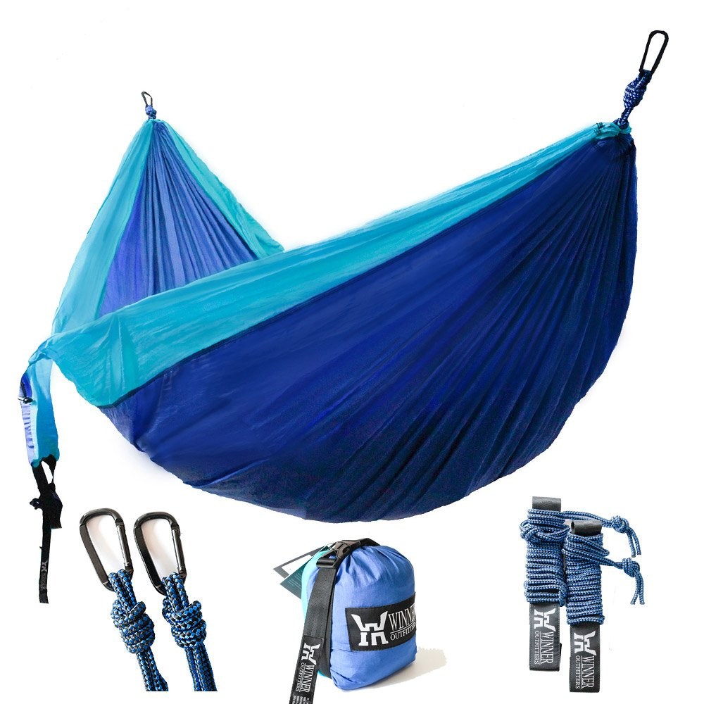 Winner Outfitters Double Camping Hammock - Lightweight Nylon Portable Hammock, Best Parachute Double Hammock For Backpacking, Camping, Travel, Beach, Yard. 118''(L) x 78''(W), Sky Blue/Blue Color