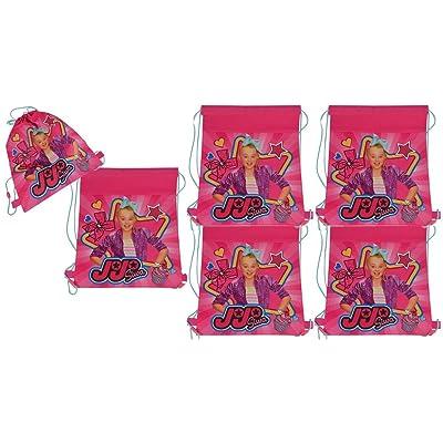 JoJo Siwa 6-Pack 14-inch Sling Bags Drawstring Cinch Sack Totes, Pink: Clothing