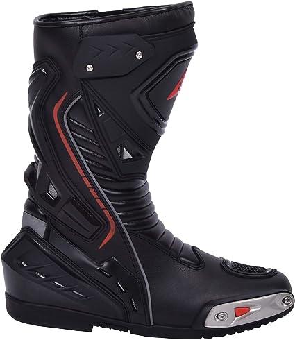 Bottes de Moto pour Homme en Cuir Robuste avec Protections de Coque rigides expos/ées Bottes de Sport en Cuir Imperm/éable 45 Noir BOHMBERG/®