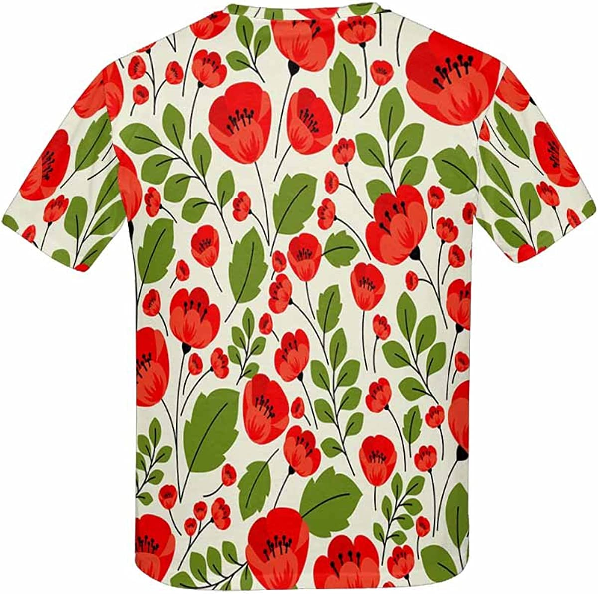 XS-XL INTERESTPRINT Kids T-Shirt Red Poppies Pattern in Style with Poppy Flowers