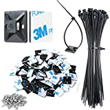 """3/4"""" Strong Black Cable Zip Tie Mounts 100 Pcs with 8"""" Zip Ties and Screws, Outdoor Sticky Cable Clips Self Adhesive Wire Cab"""