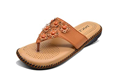 51c8321ab0b454 Midsole Women s Tan Comfortable Doctor Sole Fashion Sandals Flats Slippers  - (FT5004C2S4)
