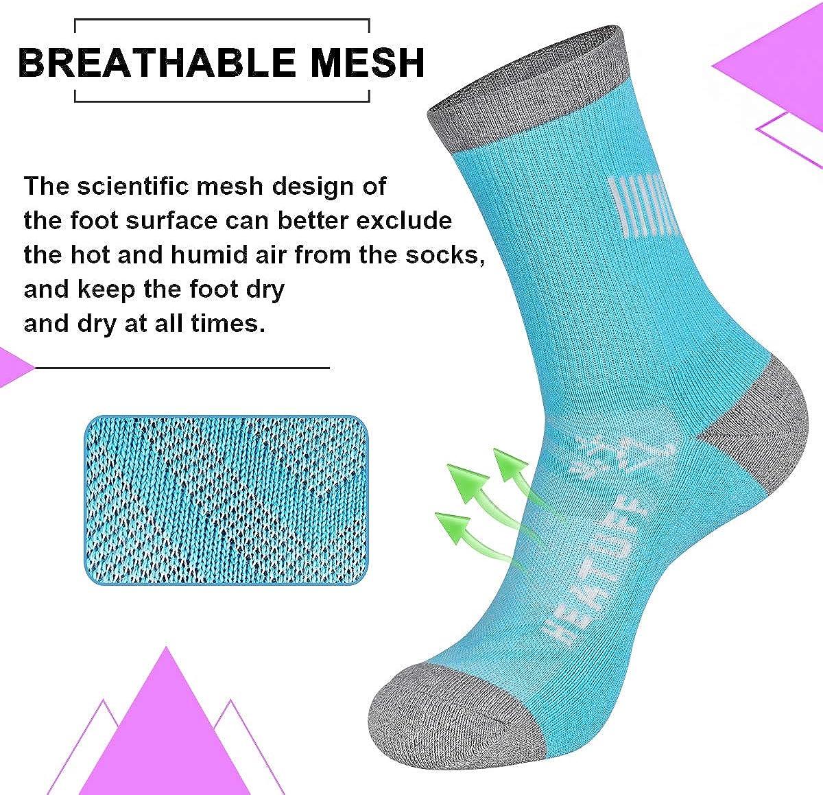 Heatuff Womens 6 Pack Hiking Crew Socks Performance Athletic Cushion Outdoor Trekking Sock: Clothing