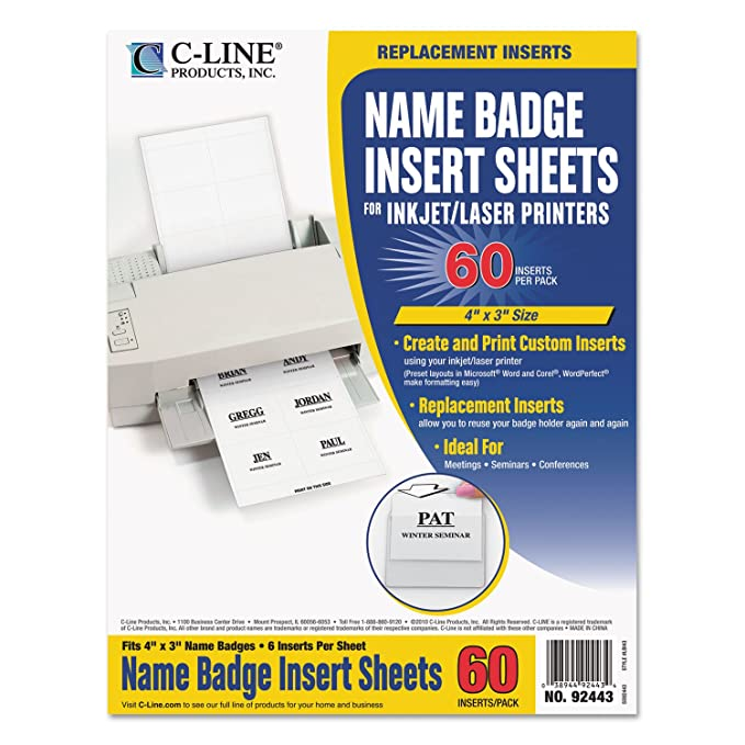amazon com c line 92443 name badge inserts 4 x 3 white 60 pack