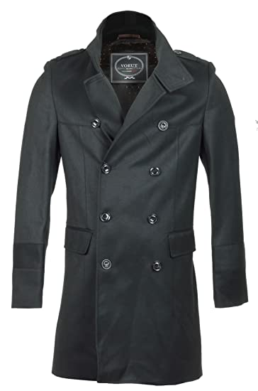 ea26ab75 Mens Winter Smart Double Breasted Long Blazer Overcoat Jacket High Collar  Trench: Amazon.co.uk: Clothing
