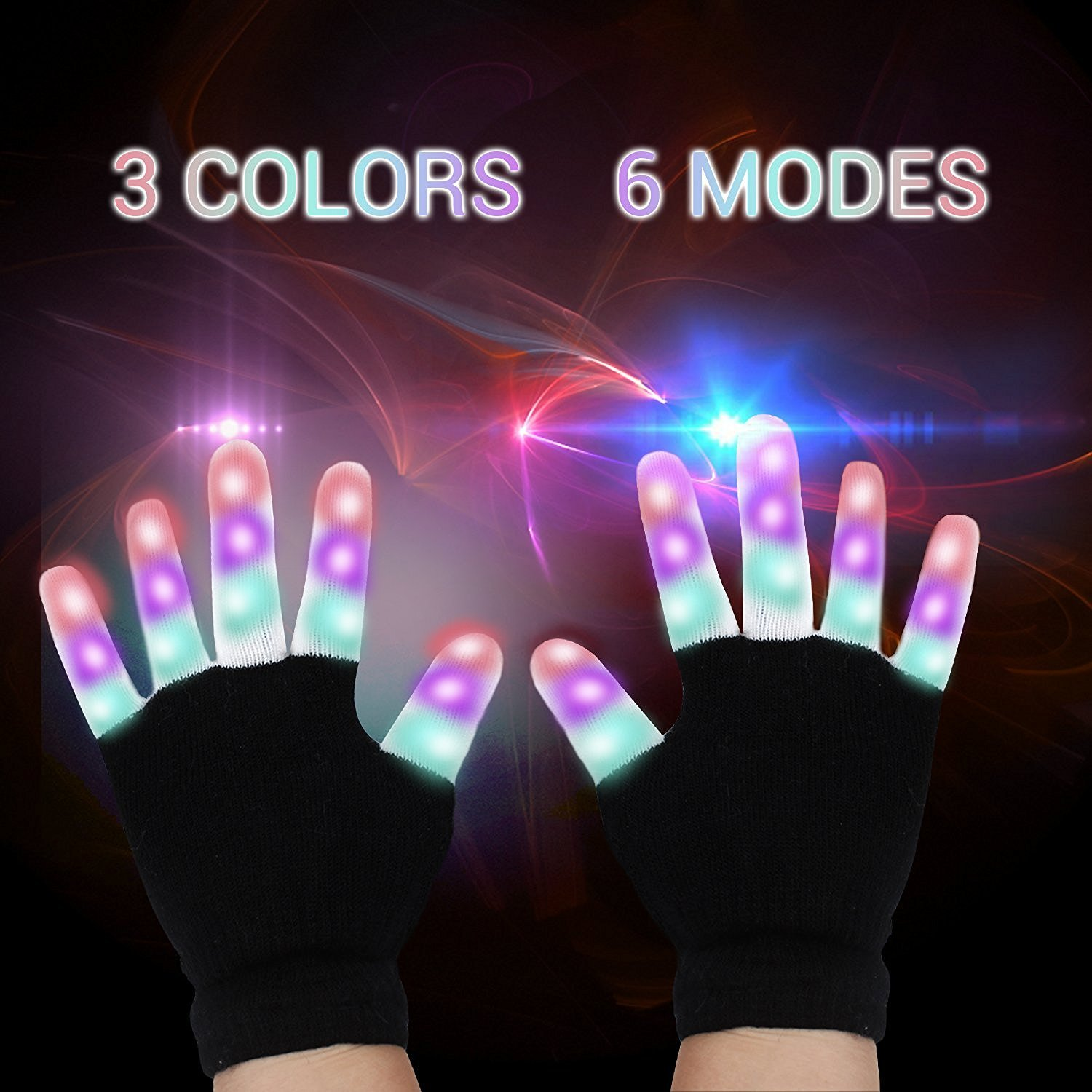 LED Gloves, Light Up Hand Gloves, Flashing Fingers Colourful Rave Gloves 6 Modes Glow for Festivals/ Halloween/ Christmas/ Bonfire Night/ Party/ Games/ Running/Gift, Fits Kid& Adult Hands(2 Pairs)