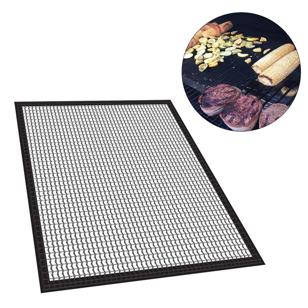 BESTOMZ Reusable BBQ Grill Mat Heavy Duty Non Stick Grilling BBQ Mesh for Indoor Outdoor