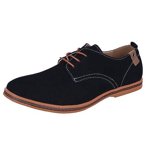 WhiFan Zapatos de Cuero Casual Oxford Zapatos de Vestir Hombre Casuales con Cordones Derby Zapatos: Amazon.es: Zapatos y complementos