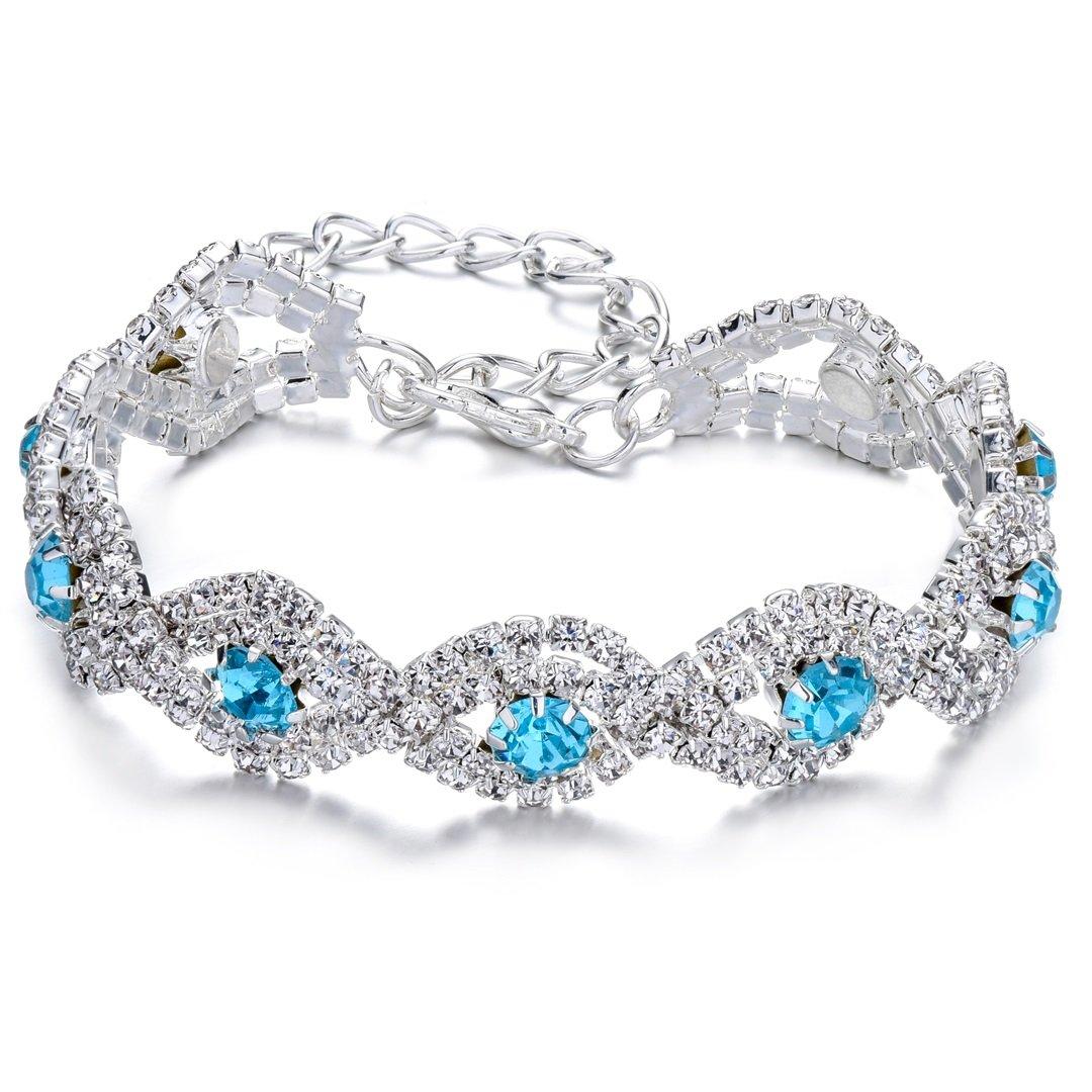 JEWMAY Yumei Jewelry Blue Rhinestone Bracelet Silver-tone Wedding Bridal Bracelet Crystal Bracelet