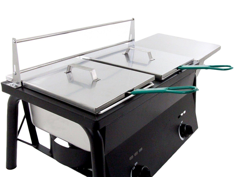 Bioexcel al aire libre 2 tanque freidora, propano gas quemador de doble con 2 cestas - con o sin Comal: Amazon.es: Hogar