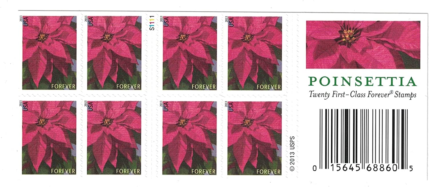 Usps Poinsettia Forever Postage Stamps Booklet Of 20