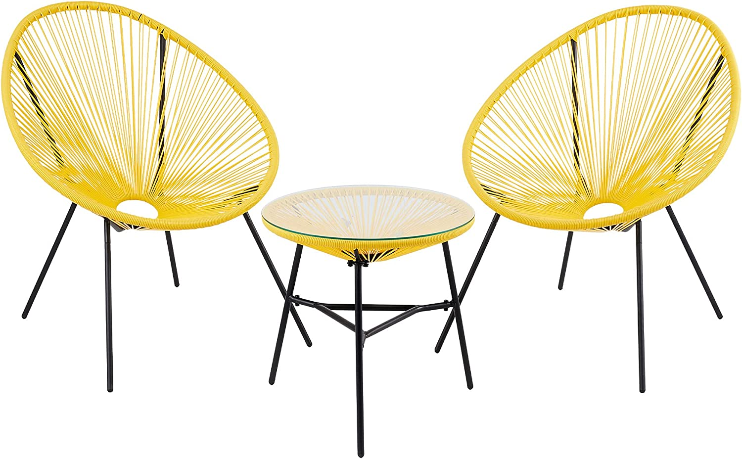 VONLUCE 3 Piece Outdoor Patio Furniture Set, Acapulco Chair Set with Glass Top Coffee Table, All Weather PE Rattan Bistro Set for Garden Poolside Balcony Patio Seating & Decor, 330lb Capacity, Yellow