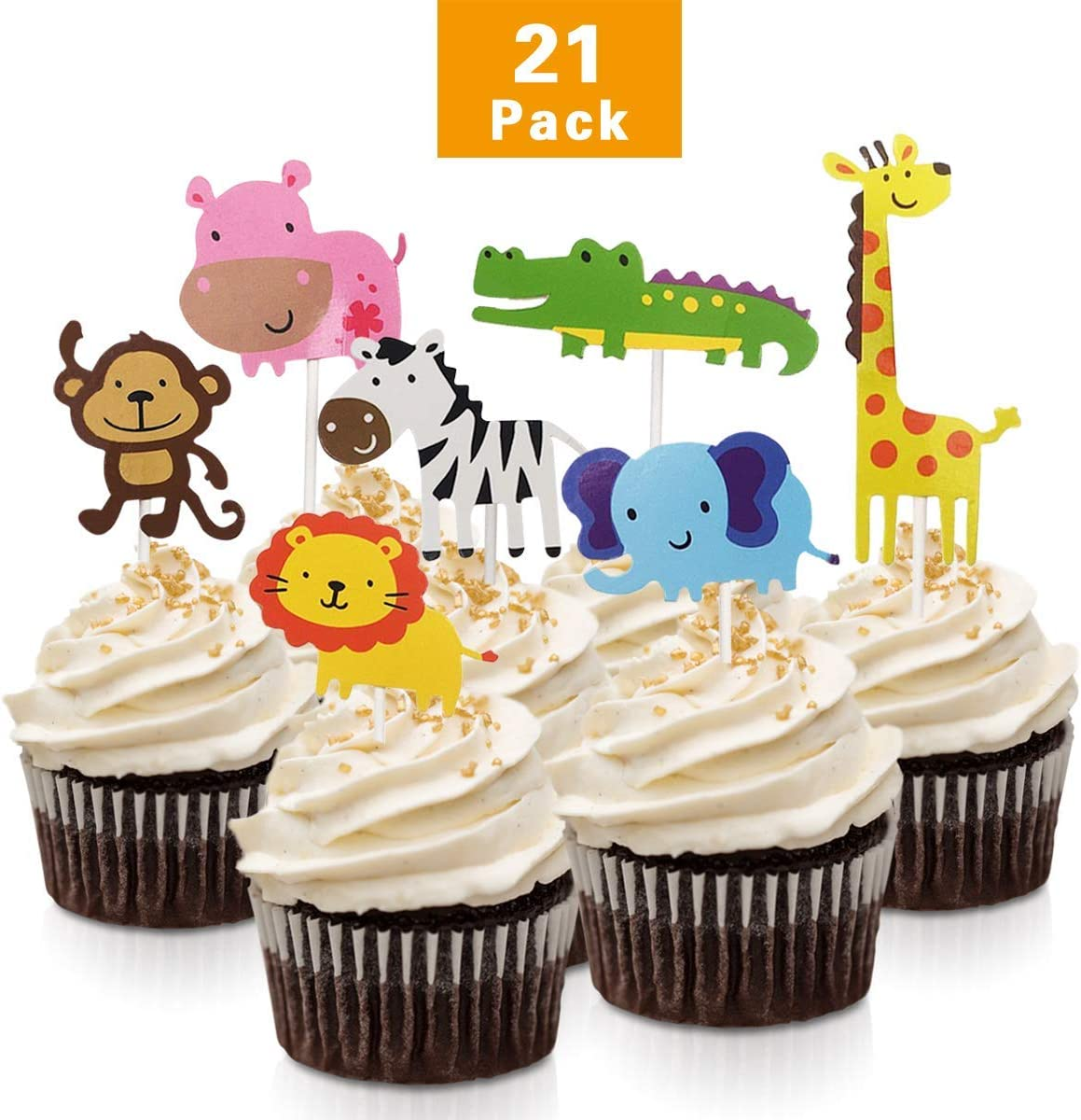 Super Fishmm 21Pcs Cute Zoo Animal Cupcake Toppers Picks Jungle Animals Funny Birthday Cards Online Alyptdamsfinfo