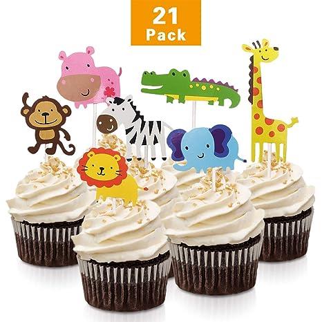 FishMM - 21 piezas de adornos para cupcakes, animales de la ...
