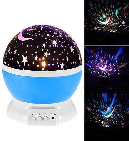 Baby Night Light Moon Star Projector 360 Degree Rotation Romantic Starry  Night Light Lamp Projection. Amazon com  Baby Night Light Moon Star Projector 360 Degree