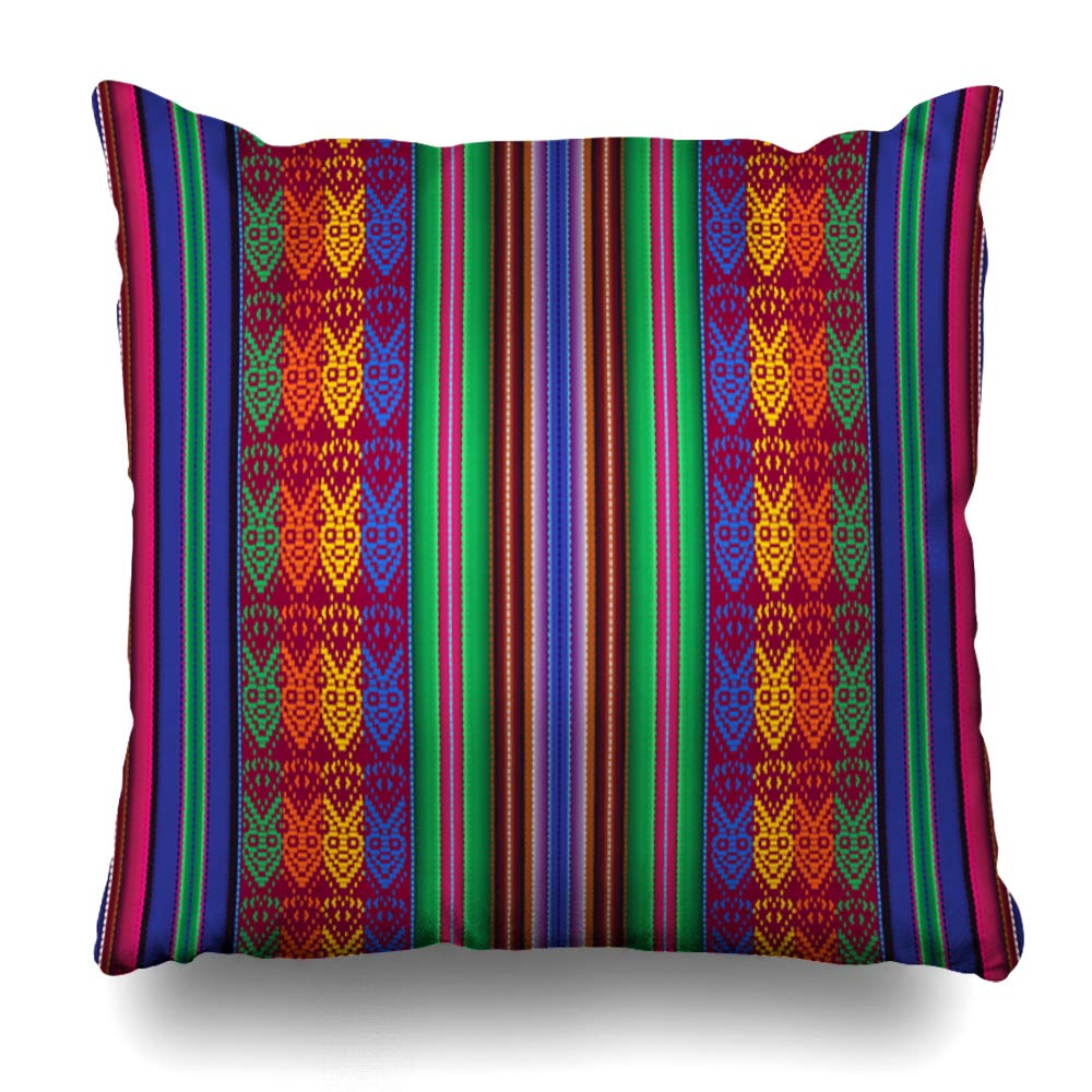"Ahawoso Throw Pillow Cover Yarn Blue Inca Bolivian Indigenous Pattern Peruvian Ecuador Peru Latin Decorative Pillowcase Square Size 16""x 16"" Inch Home Decor Cushion Case"