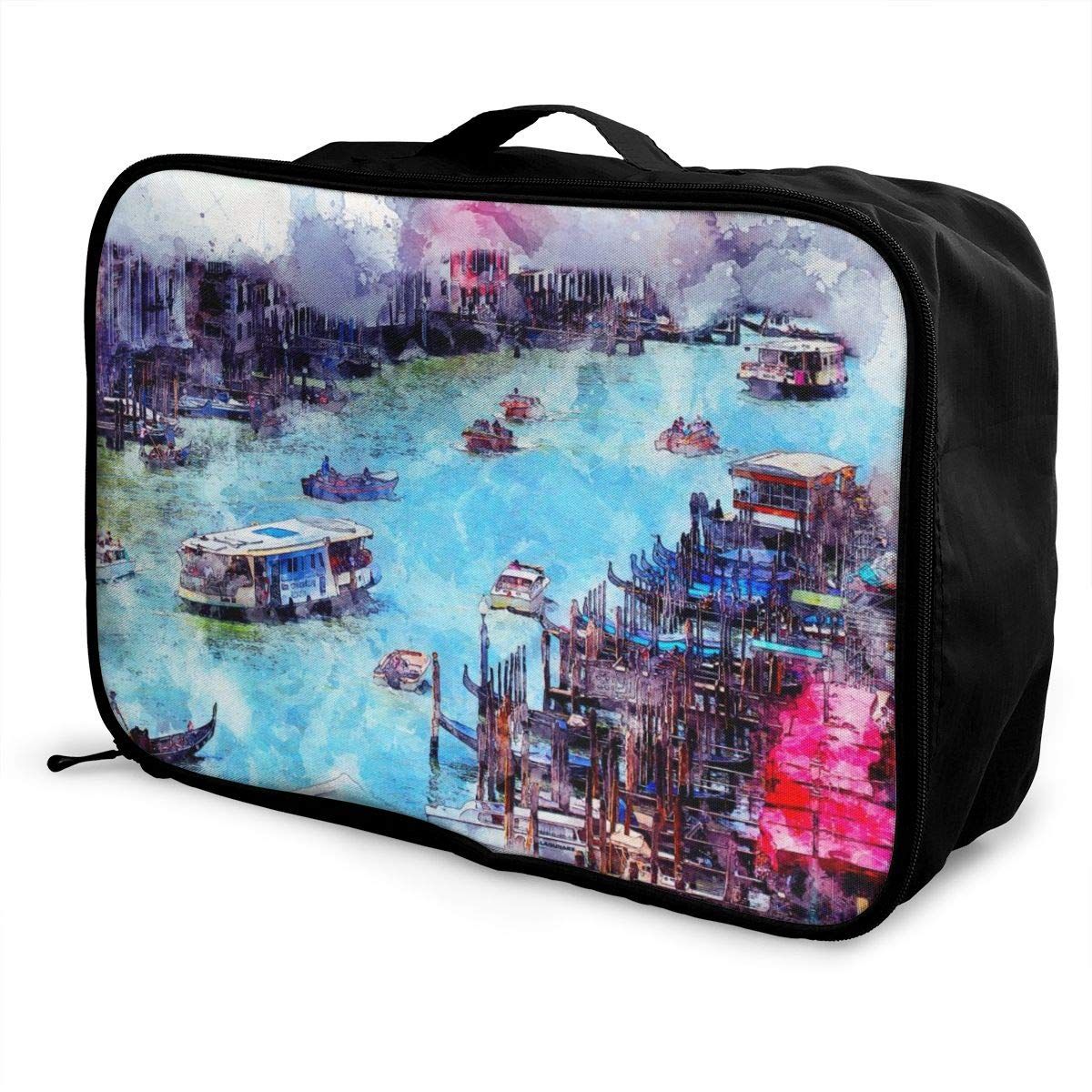 Ship Art Watercolor Nature Travel Lightweight Waterproof Foldable Storage Carry Luggage Large Capacity Portable Luggage Bag Duffel Bag