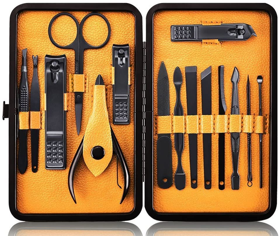 Profesional Cortaúñas Acero Inoxidable Grooming Kit - Set de 15 Piezas para Manicura y Pedicura Limpiador Cutícula con Bonita Caja (Amarillo)