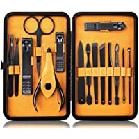 Manicure Set Nail Clipper Kit Professional - Stainless Steel Pedicure Tools Nail Grooming Kit of 15pcs with Case for Travel by Keiby Citom (Black/Yellow)