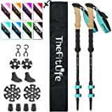 TheFitLife Carbon Fiber Trekking Poles – Collapsible and Telescopic Walking Sticks with Natural Cork Handle and Extended EVA