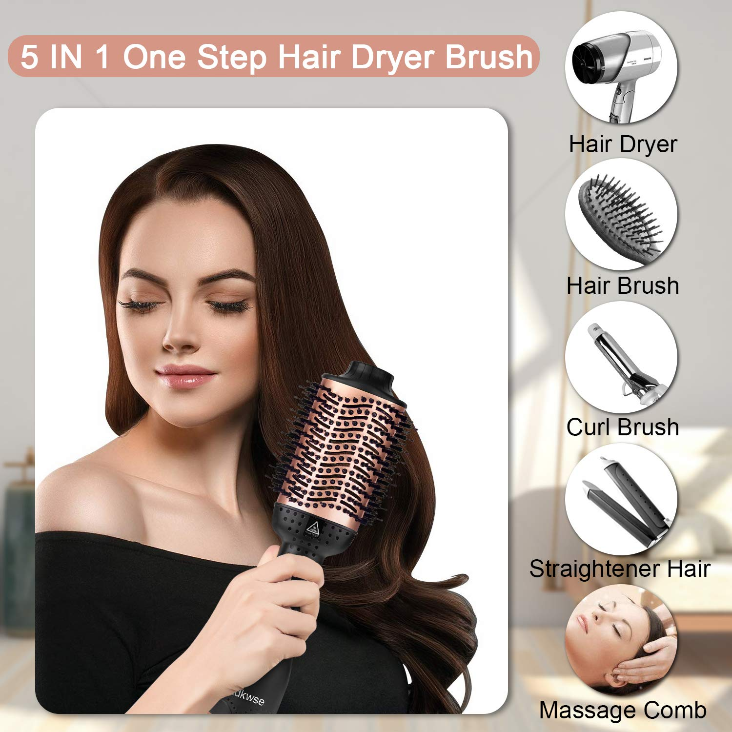 Adkwse Hair Dryer Brush, Hot Air Brush, Hair Dryer and Volumizer Blow Brush, 4 in 1 Upgrade Hair Brush Dryer Styler,Hair Brush Blow Dryer with Negative Ion and Ceramic Coating