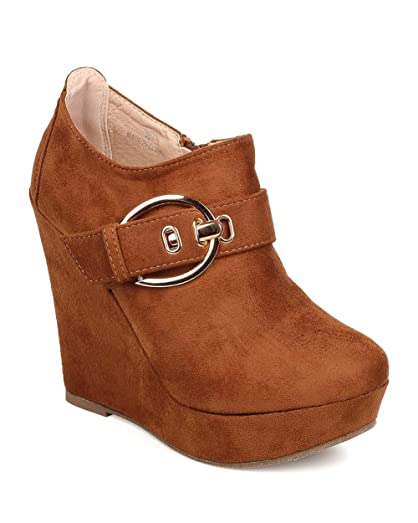 FB26 Women Faux Suede Buckle Platform Wedge Bootie