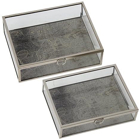 DRW - Set de 2 Cajas de Metal y Cristal Decoradas con mapamundi con Brillos Dorados
