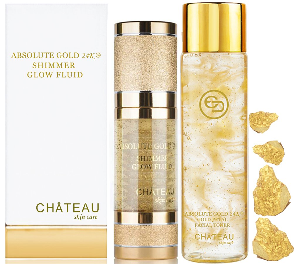 Absolute Gold 24K GOLD PETAL FACIAL TONER - 24K SHIMMER GLOW FLUID ( pack 2). 24 KARAT GOLD / COLLAGEN / HYALURONIC ACID. For all skin types.
