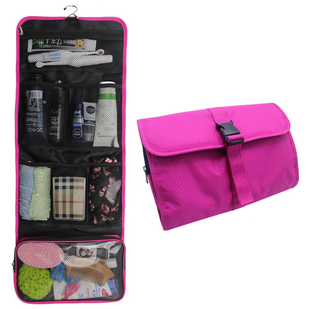 Hanging Travel Toiletry Bag Travel Kit Organizer Cosmetic Makeup Waterproof Wash Bag for Women Girls Travel Case for Bathroom Shower (1 Hot Pink) by TANTO