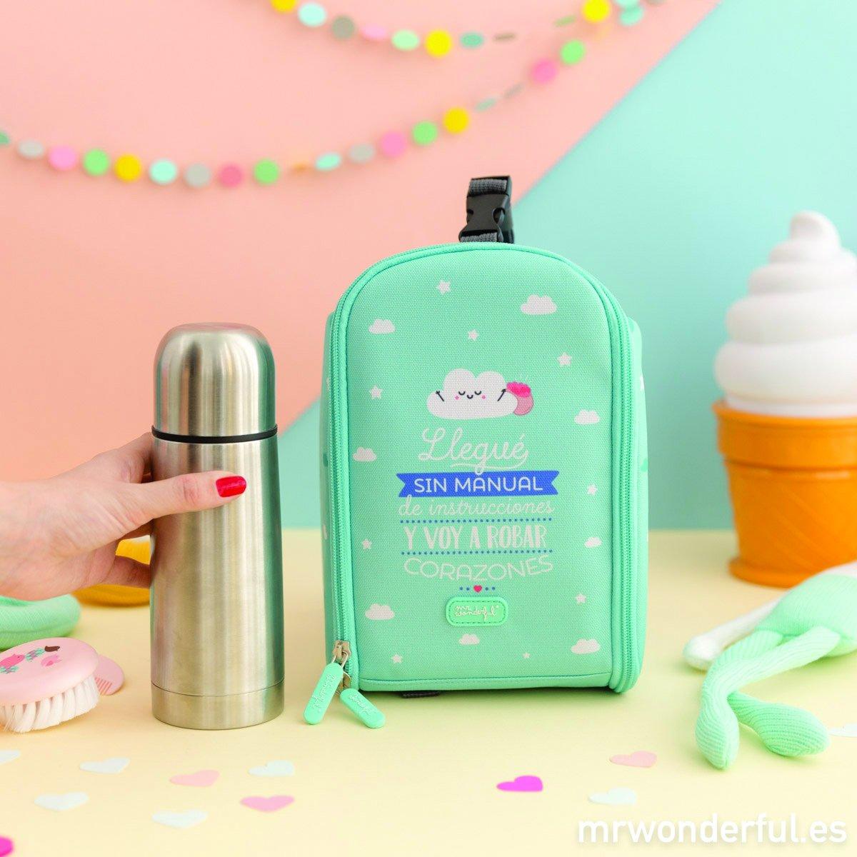 Mochila Termica con termo liquido 350ml Mr Wonderful Azul Castellano: Amazon.es: Bebé