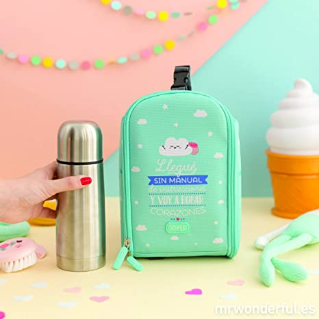 Mochila Termica con termo liquido 350ml Mr Wonderful Azul ...