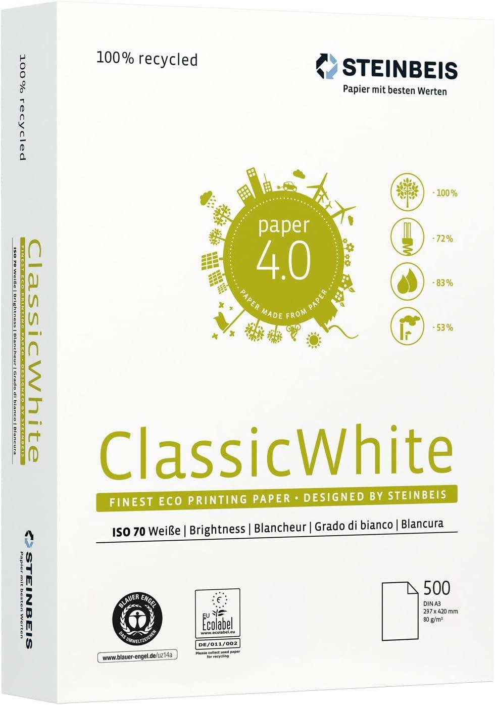 colore: bianco Steinbeis c1201555080b/ 80/g//m/² /5/x 500/fogli formato A3/ /Carta multifunzione