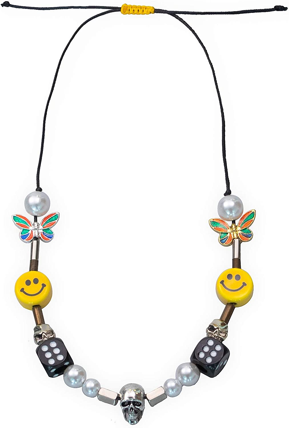 Men's ASAP Butterfly Skull Dice Pearl Smile Necklace Punk Hip Hop Street Dance Rock Jewelry Gifts