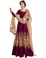 Aryan Fashion Women's Banglory Silk Dress Material (AFS-ER-Ewe10621_Free Size_Magenta)