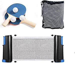 DUOBEIER 7-Piece Tabletop Tennis Game Set,Ping Pong Paddle Set, Portable Table Tennis Set with Retractable Net,2 Rackets,3 Balls and Storage Bag for Play Anywhere Home Indoor or Outdoor Games