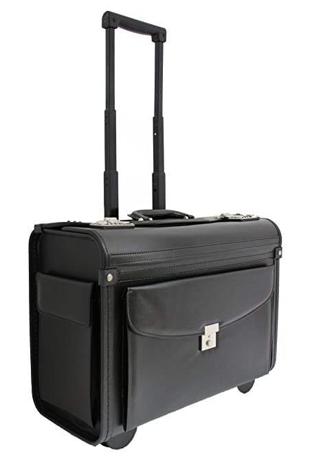 ca91c7e6c Faux Leather Pilot Case Business Laptop Travel Work Flight Briefcase Trolley  Bag: Amazon.co.uk: Luggage