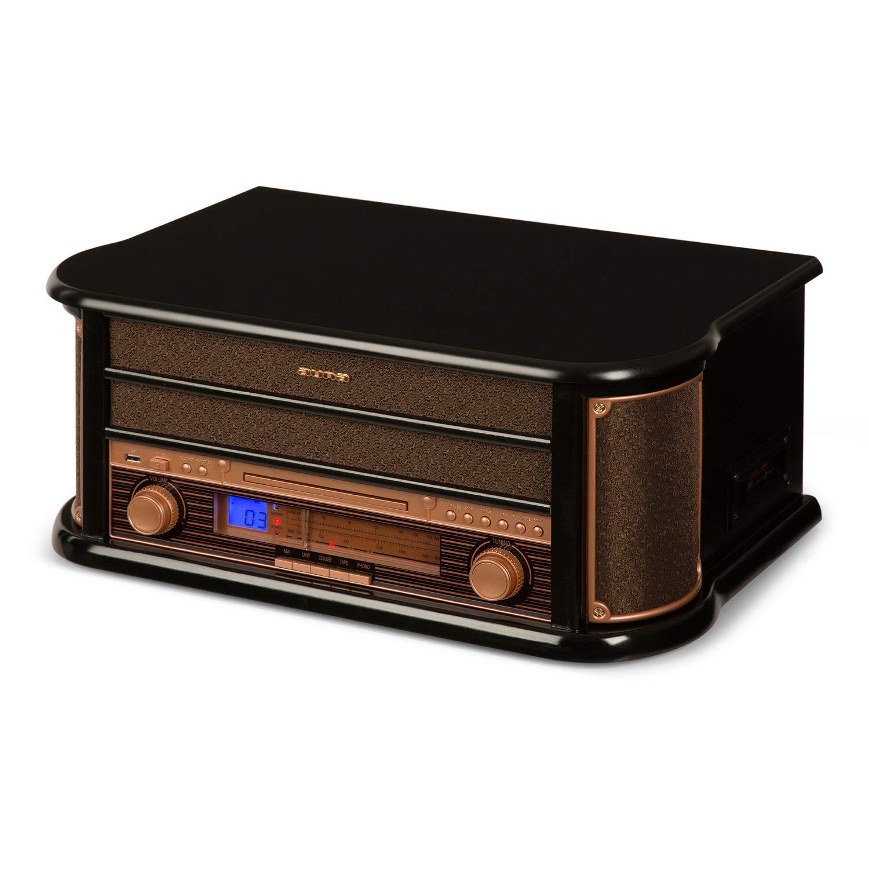 Auna Belle Epoque 1908 • Chaîne stéréo rétro • Tuner Radio FM/MW • Enceintes stéréo • Fonction Enregistrement • Port USB • Lecteur de Cassettes intégré • Écran LCD • Noir product image