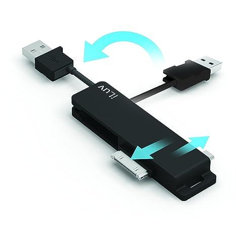 iLuv ICB12BLK - Llavero cargador 3 en 1, USB, color negro ...