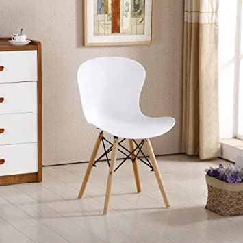 Pu0026N Homewares Alessia Eiffel Chair Plastic Ribbed Retro White Black Grey  Red Yellow Pink Green Blue