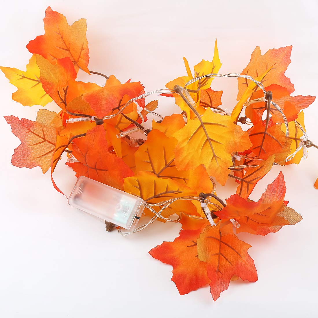 SILIVN Fall Decorations,Fall Garland,Fall Wreath,Thanksgiving Decorations,Christmas Decor Lighted Fall Garland | 8.2 Feet | 20 Lights (1 Pack)